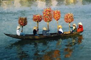 Hoa đi chợ Tết. Ảnh: Đặng Văn Trân